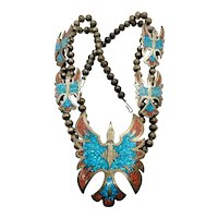 Vintage Navajo Sterling Silver Turquoise Coral Peyote Bird Squash Blossom Necklace