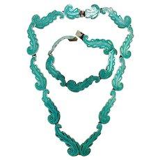 Antique Mexico Sterling Silver Turquoise Blue Enamel Guilloché Necklace Bracelet Set