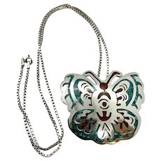 Signed Vintage Navajo Sterling Silver Turquoise Coral Butterfly Pendant Pin Necklace