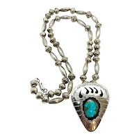 Signed Vintage Sterling Silver Navajo Pearl Turquoise Bear Paw Beaded Necklace