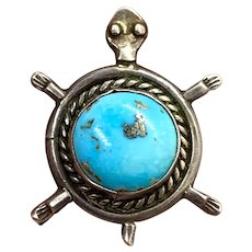 Vintage Navajo Sterling Silver Turquoise Turtle Pin Brooch