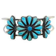 Vintage Navajo Sterling Silver Turquoise Cluster Multi Stone Cuff Bracelet