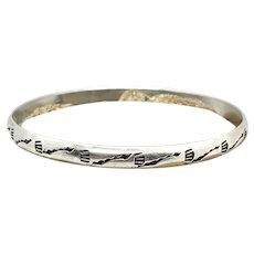 Vintage Navajo Southwestern Stamped Sterling Silver Bangle Bracelet