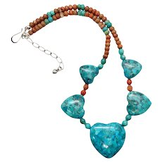 Jay King DTR Southwestern Reversible Sterling Silver Turquoise Coral Heart Beaded Necklace