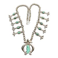 Antique Sterling Silver Navajo Green Spiderweb Turquoise Squash Blossom Necklace
