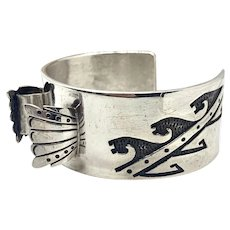Vintage Signed Navajo Heavy Sterling Silver Overlay Watch Cuff