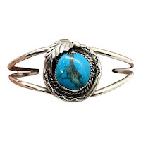 Signed Navajo Sterling Silver Blue Turquoise Squash Blossom Cuff Bracelet