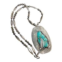 Huge Signed Navajo Pearl Sterling Silver Turquoise Beaded Squash Blossom Necklace