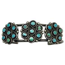 Vintage Zuni Dishta Style Sterling Silver Turquoise Men's Cuff Bracelet