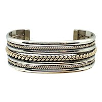 Nora Tahe Signed Navajo Sterling Silver 12k Gold Two Tone Cuff Bracelet