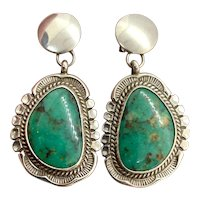 Will Denetdale Signed Navajo Sterling Silver Green Turquoise Dangle Earrings