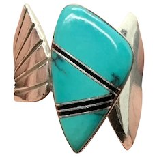 F Frances Signed Navajo Adjustable Sterling Silver Turquoise Inlay Ring
