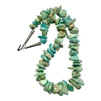 Vintage Navajo Sterling Natural Blue Green Turquoise Nugget Beaded Necklace