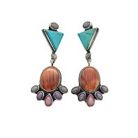 Milton Lee Signed Navajo Sterling Silver Turquoise Spiny Oyster Multi Stone Dangle Earrings