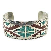 Vintage Tommy Singer Signed Navajo Sterling Silver Turquoise Coral Cuff Bracelet