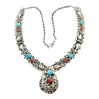 Keith James Signed Navajo Sterling Silver Turquoise Coral Squash Blossom Necklace