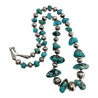 Vintage Stamped Navajo Pearl Sterling Silver Genuine Turquoise Beaded Necklace