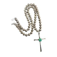 Vintage Signed Navajo Pearl Sterling Silver Green Turquoise Cross Beaded Necklace