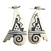 Vintage Hopi Large Sterling Silver Overlay Dangle Earrings
