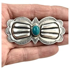 Don Lucas Signed Navajo Southwestern Sterling Silver Turquoise Concho Pin Brooch