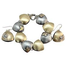 Handmade Solid 14k Yellow Gold & Sterling Silver Two Tone Earrings Bracelet Set