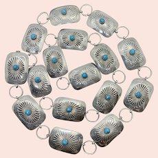 Vintage Navajo Southwestern Sterling Silver Turquoise Stamped Concho Belt