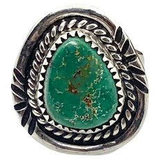 Vintage Navajo Southwestern Sterling Silver Natural Green Turquoise Ring