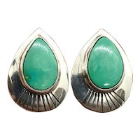 Navajo Southwestern Sterling Silver Green Turquoise Stud Earrings