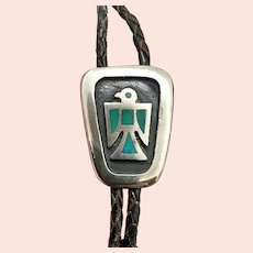 Fred Harvey Era Navajo Sterling Silver Turquoise Thunderbird Leather Bolo Tie