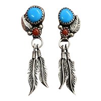 Vintage Navajo Sterling Silver Turquoise Coral Squash Blossom Dangle Earrings