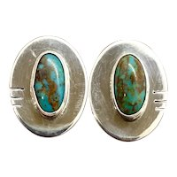 Clarence Bailon Santo Domingo Sterling Silver Turquoise Stud Earrings