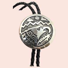 Signed SC Hopi Sterling Silver Eagle Overlay Black Leather Bolo Tie