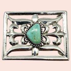 Vintage Navajo Heavy Sand Cast Sterling Silver Natural Turquoise Belt Buckle