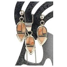 Ervin Hoskie Navajo Sterling Silver Coral Multi Stone Necklace Earrings Set