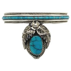 Beatrice Key Signed Navajo Sterling Silver Turquoise Heishi Bead Squash Blossom Cuff Bracelet