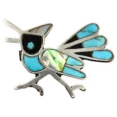 Vintage Zuni Sterling Silver Turquoise Multi Stone Inlay Blue Jay Bird Pin