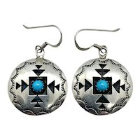 Signed Navajo Sterling Silver Turquoise Concho Dangle Earrings