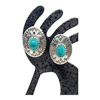 Signed Navajo Sterling Silver Genuine Blue Turquoise Concho Stud Earrings
