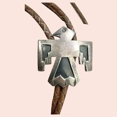 Early Fred Harvey Southwestern Sterling Silver Thunderbird Leather Bolo Tie