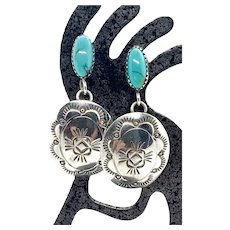 Navajo Stamped Sterling Silver Turquoise Concho Dangle Earrings
