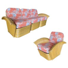 "Restored ""Golden Girls"" Art Deco Rattan Fan Arm Three-Seat Sofa & Lounge Chair Livingroom Set"