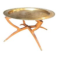 Folding Coffee Table with Brass Charger Tray