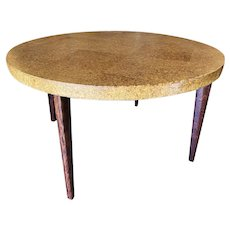 Round Mid-Century Cork Top Dining Table w/ Knife Legs by Paul Frankl