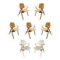 Mid Century Thonet Bent Plywood Armchairs by Joe Atkinson, Set of Seven