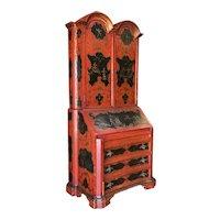 Hollywood Regency Secretary Desk Secretaire Bookcase w/ Chinese Motif