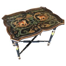 Black Carved Wood Tray Table and Stand w/ Tiger Motif