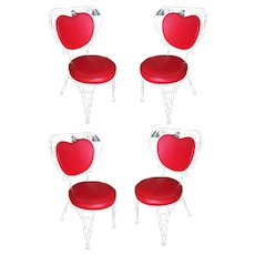 Custom Made Iron & Steel Rebar Heart Patio Lounge Chair, Set of Four