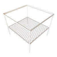 Iron and Mesh Low Outdoor/Patio Cube Coffee Table w/ Glass Top by Woodard