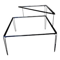 Restored Mid Century Woodard Two-Tier Glass Top Iron Outdoor/Patio Side Table