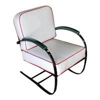 Wolfgang Hoffmann Custom Green and Black Springer Chair for Howell